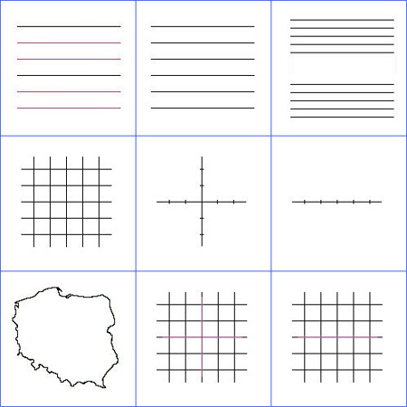 Liniatura na tablicach białych, typu A (cena za 1 m2)